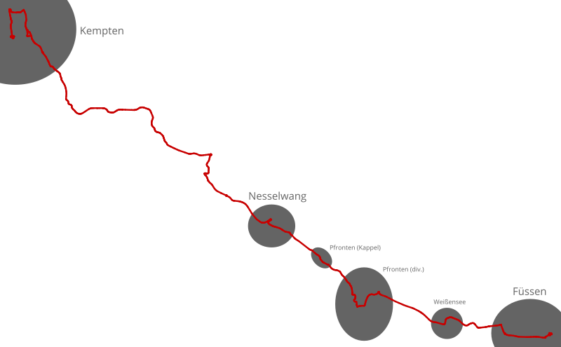 Die Route der 63/71 frühmorgens, mit extrem detailliert eingezeichneten Ortschaften entlang des Wegs.
