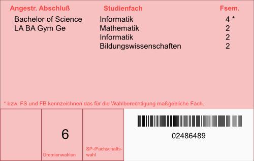 Rückseite eines handelsüblichen Studierendenausweises der Uni Bonn (Muster)