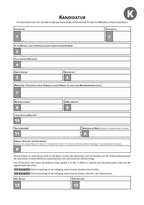 Usability von Kandidaturbögen