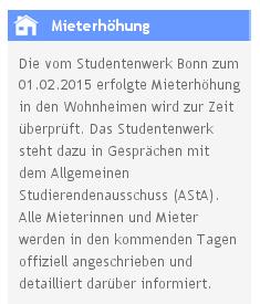 Die Webseite des Studierendenwerks Bonn verkündigt das Miet-Moratorium.