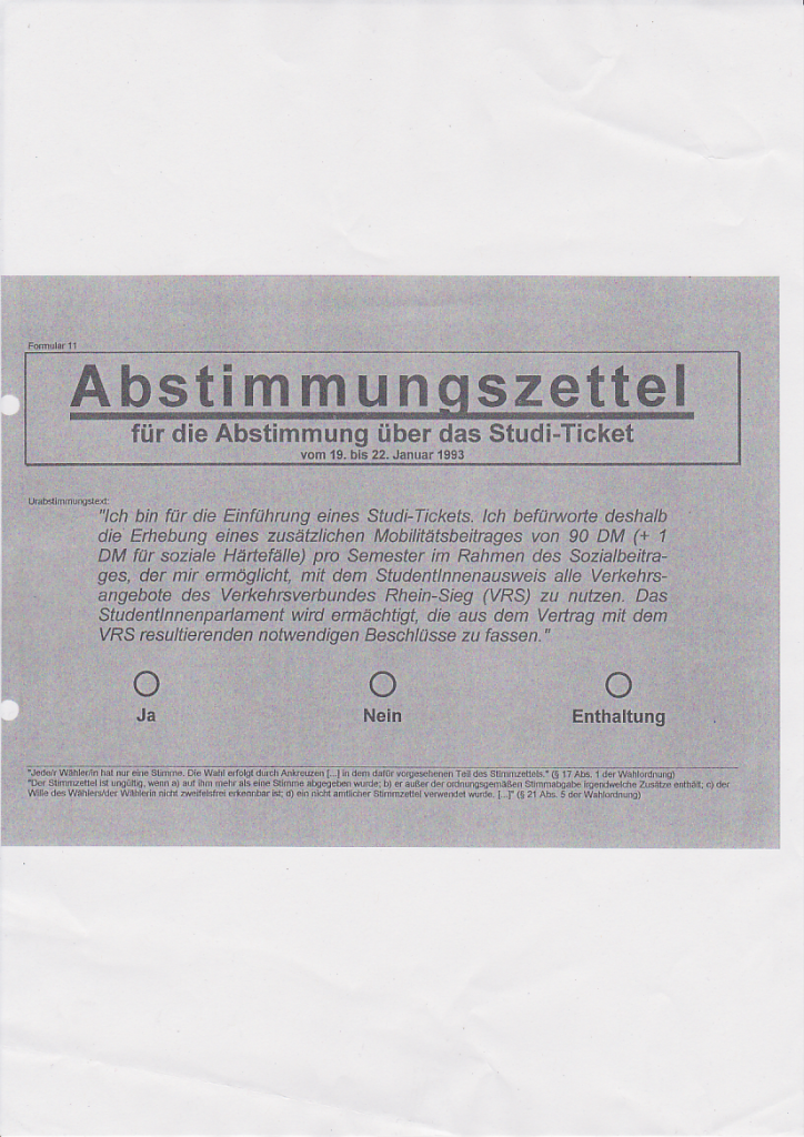 Aus dem AStA-Archiv: Stimmzettel zur Urabstimmung über die Einführung des Studitickets aus dem Jahr 1993.